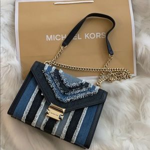 NWT MICHAEL KORS Denim Fringe Gold Shoulder Bag